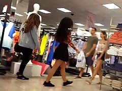 Candid voyeur exotic teen beauty at mall in skirt