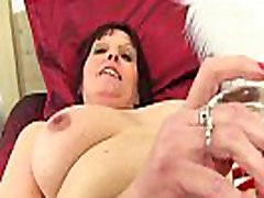 British milf Beau gets wanking instructions action in crotchless tights