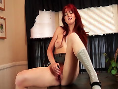 Amazingly sara miller redhead plays with her vibrator before diner