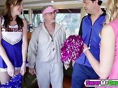 Slutty www force fuck online com cheerleader bouncing on hard older cock