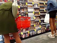 Candid voyeur 2 hotties in tight black dress shopping ass
