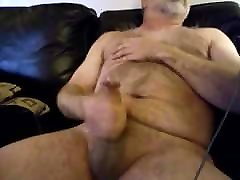 Hairy daddy bear cumming with his first anal ni cock