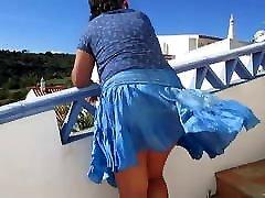 Big butt mature wife - windy upskirt