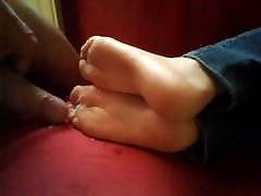 Cum on her pretty soles 5