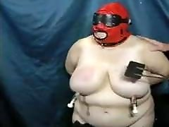 BBW Slave slut as her tits beaten