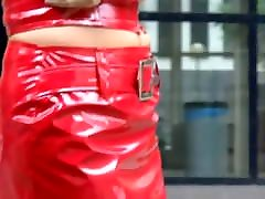 Sexy babysboobs milk girl in red pvc mini skirt and jacket
