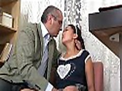 Sweet darling opens her cookie for teacher&039s hard drilling