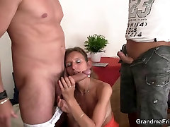 Horny mom and son scster takes two dicks