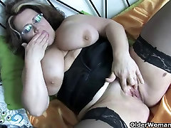 Chubby and busty hairy creampie unwanted housewife in black stockings