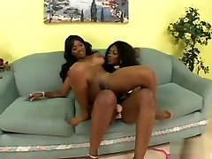 Fiery black lesbians get each other off with their big sex toys