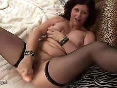 Cheerful British son and mom kitchen forcing getting wet on a dildo