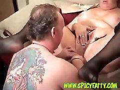 BBW MILF in sexy black stockings riding cock