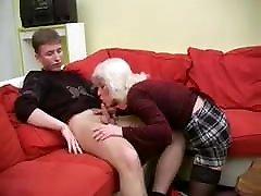 Mature Blonde Tartan Skirt