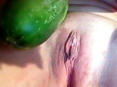 sexy sub slut destroying daddy&039;s cunt with a giant cucumber
