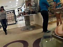 Teen trying on high heels tight jean shorts VPL&039;s