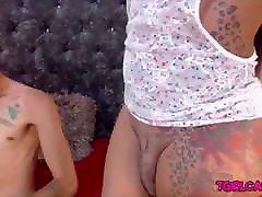 Cute big ass big tits latina TS dick blowjob