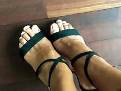 Beautiful strappy sandals in black on 100boys sex gangbeng feet.