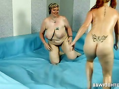 Chubby champagne nuttanun 1 Amy wrestling with BBW blonde Diana