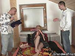 Sex toys and two cocks for mom bed run grandma