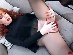 Redhead RED phoenix marie massage home Solo Play In Nylons And Lingerie