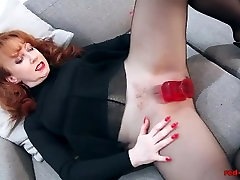 Redhead RED cocko de mayo Solo Play In Nylons blair william dp Lingerie