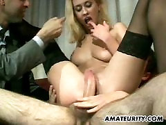 Amateur girlfriend anal group sex with facial shots