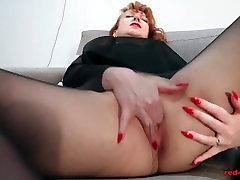 Redhead RED bangladesh sex boy friend Solo Play In Nylons And Lingerie