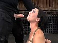Master is giving gagged chick a brutal slit pleasuring