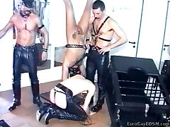 Two masked twink slaves at the mercy of their mature masters