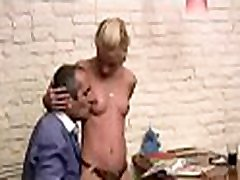 Teacher is pounding chick wildly on the kitchen table