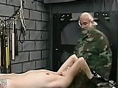 Undressed woman anal in paradise bondage at home with horny man