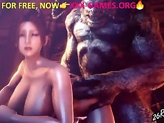 Monster with big tits girl, in porn game trailer