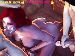 Gangbang,Bdsm, deep blowjob by redhead