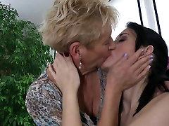 Granny fucks young girl and mature mom