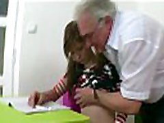 Excited aged teacher gives young babe a vigorous drilling