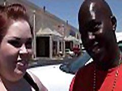 Fat girl is performing great fellatio to her black boyfriend