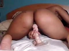 Light Skin Ebony Bouncing On White Dildo
