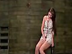 Youthful slut has all 3 holes filled at once in bdsm scenery