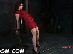 Handcuffed gal wants hardcore torturing for her cunt