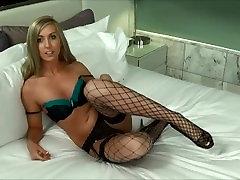 Blonde Shaye Rivers Fucks Herself Hard w Glass Dildo in Heels and Stockings