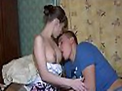 Submissive darling is delighting with penis riding and blowjob