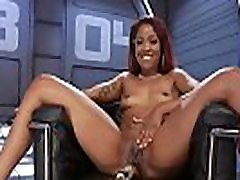 Ebony squirting and fucking machine