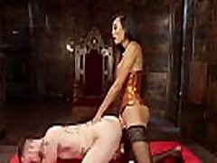 Tranny in lingerie gives facial to slave
