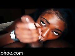 Beautiful Ebony Girl Swallows Cum POV