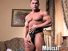 Muscle trisha bangs rimjob with cumshot
