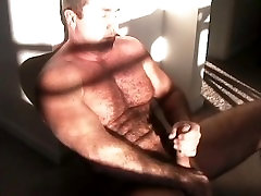 Beautiful hairy muscle daddy Carolina Jim jacking off in the sunlight