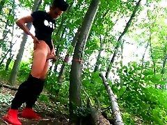 teen´s balls stretched outdoor, selfcum on tortured balls
