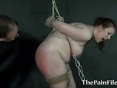Fat girls needle bdsm and extreme tit tortures of submissive bbw Rosie in hardcore domination and cruel bondage