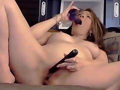 Erotic mature goddess Robin with sexy smile masturbates and