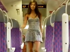 Teen risky flash in train